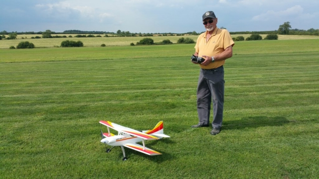 Season ticket holder and regular volunteer Richard Phillips about to take the honours of first flight on the new runway.