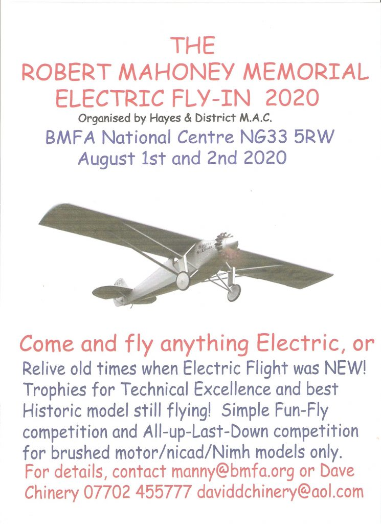 Robert Mahoney Memorial Electric Fly-in @ BMFA Buckminster | Sewstern | England | United Kingdom